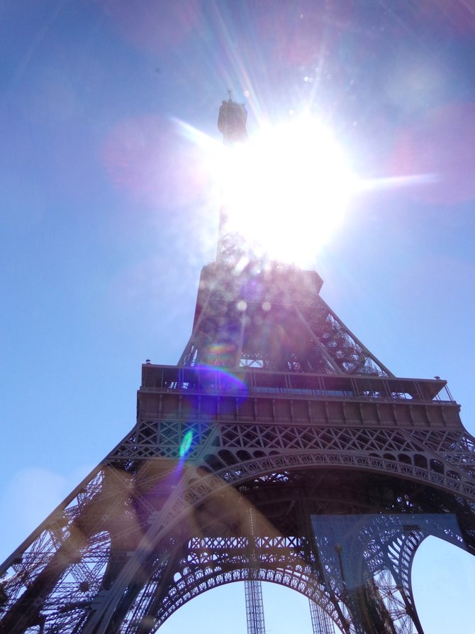 A picture captured from the window of my tour bus of the most-visited paid monument in the world- The Eiffel Tower.