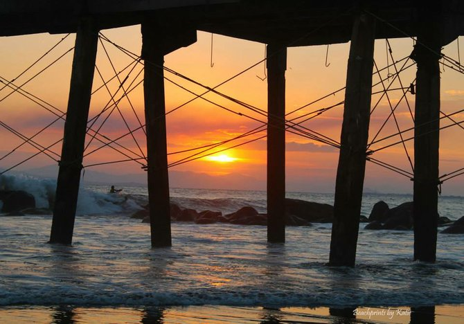 Sunset Pier in Costa Rica, Copyright Beachprints by Katie, 2014