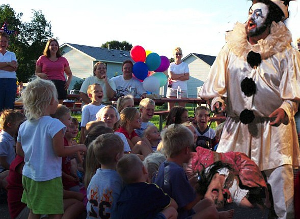 """Pagliacci, now available for birthdays. """"Let the sad clown bring happiness to your party!"""""""
