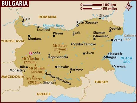 Area Map For Bulgaria