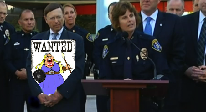 San Diego Police Chief Shelley Zimmerman fields questions from reporters while City Attorney Jan Goldsmith displays police sketch of suspect.