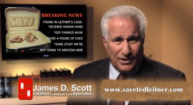 Still from Ted Leitner's YouTube ad for attorney James D. Scott