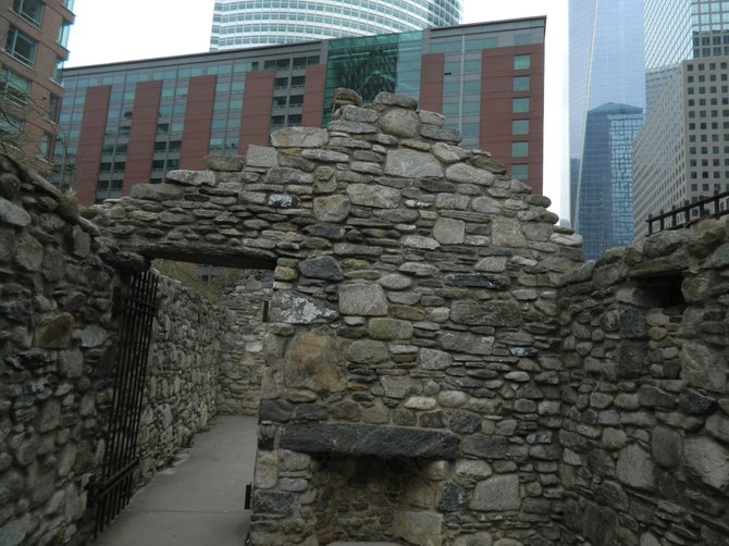 The Irish Hunger Memorial and Conrad NYC in the background.