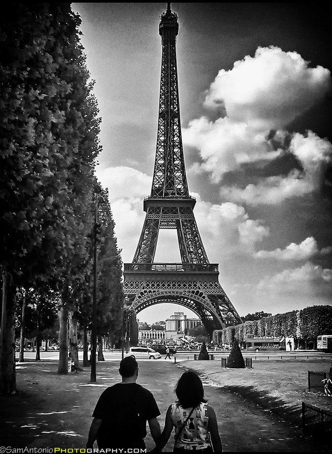 """Paris is for Lovers."" Eiffel Tower, Paris, France. www.SamAntonio.com"