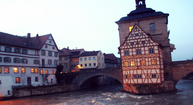 The Altes Rathaus, Bamberg's 14th-century town hall, on the River Regnitz.