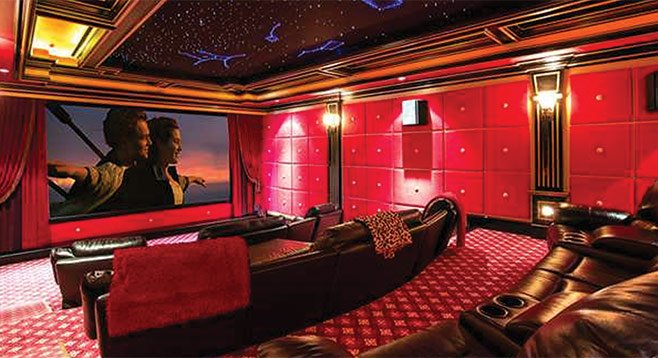 "The ""entertainers paradise"" has a private movie theater with a classically themed lobby."