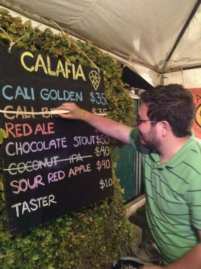 Cervecería Calafia's tasting menu