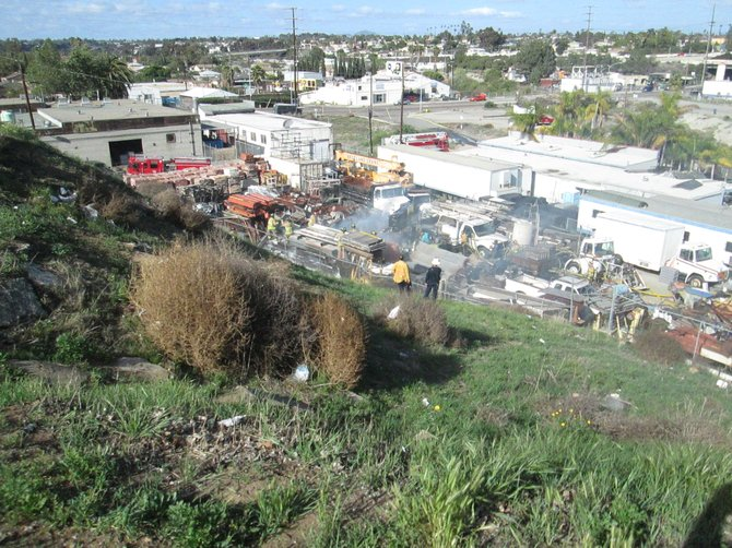 Photo taken from clifftop on Newton Avenue looking down on the location of the fire.