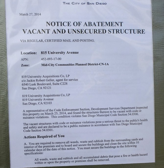Notice of Abatement
