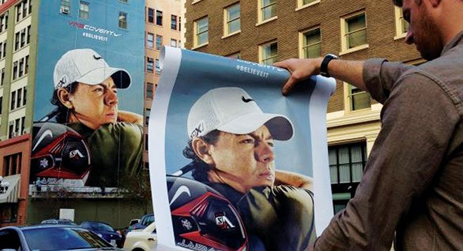 A portrait of pro golfer Rory Mcilroy adorns the San Diego Jeweler's Exchange on Sixth Avenue downtown.