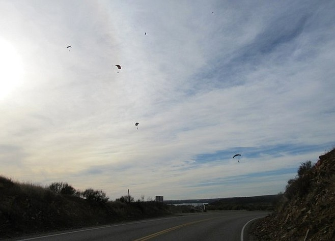 Watching the skydivers from Otay Lakes Road.