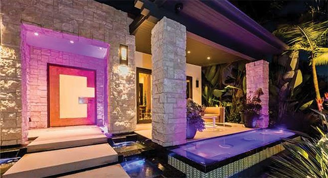 """Entryway to """"about as 'smart' a home as there is out there."""" This Coronado property is completely controlled via an iPad."""