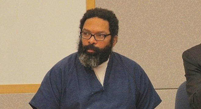 Louis Ray Perez has added more hair, a full beard, and glasses, since his first appearance in court 2 yrs ago. Photo by Eva
