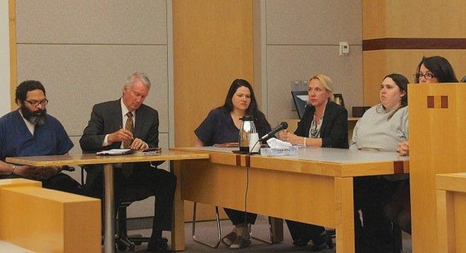 Three defendants and their attorneys in court today - Perez, atty Patton, Maraglino, atty Kinsey, Jessica Lopez, atty Ostbye. Photo by Eva