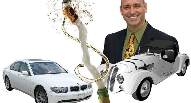 One of Kevin Beiser's fundraising hosts promised free champagne and BMWs to employees.