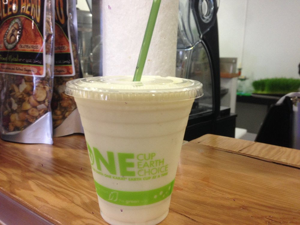 A 12oz Fruit Smoothie Number 06, with pineapple, coconut water and compostable cup; $5.50. Stehly Farms Market.