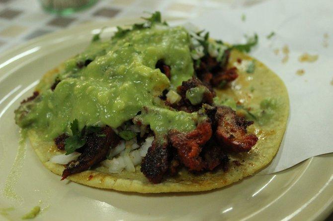 The magnificent adobada taco at Taqueria Los Albañiles.