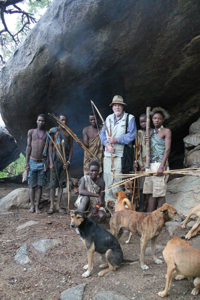Author with Hadzabe tribesmen
