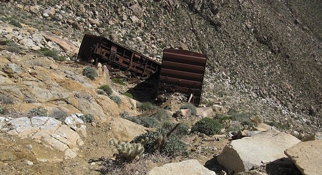 Cars that long ago fell from San Diego and Arizona Eastern Railway tracks