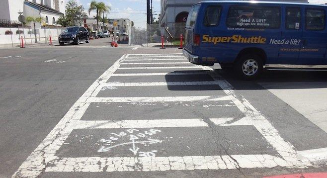 Eastward view of problematic crosswalk
