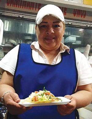 Vicky with my fish taco