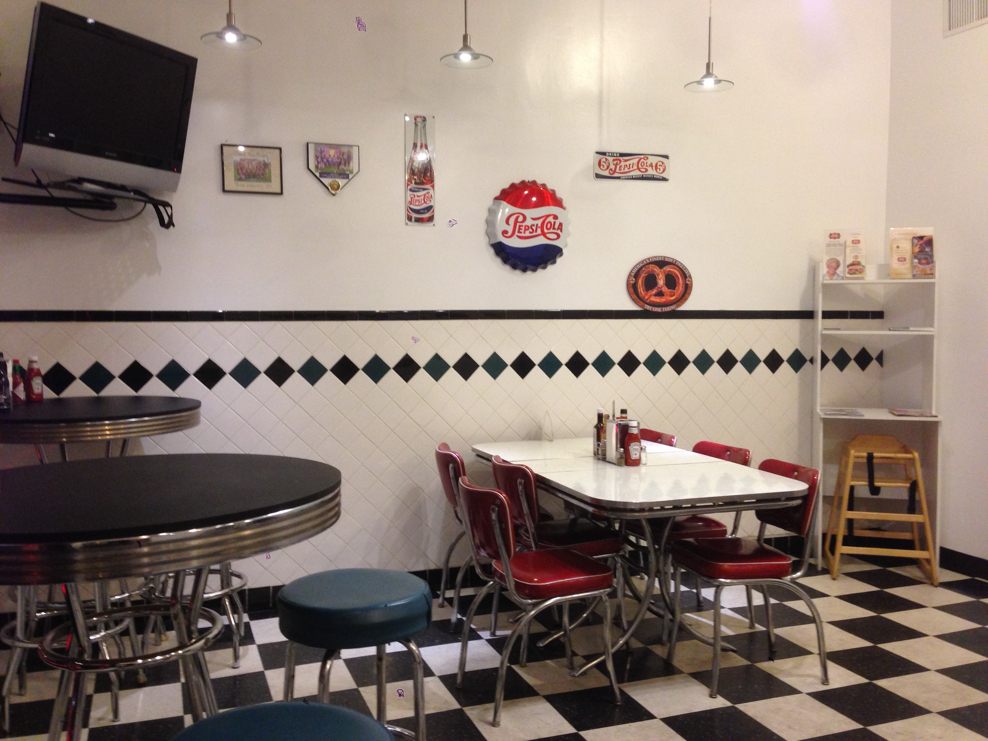 The added seating has some old school diner charm.