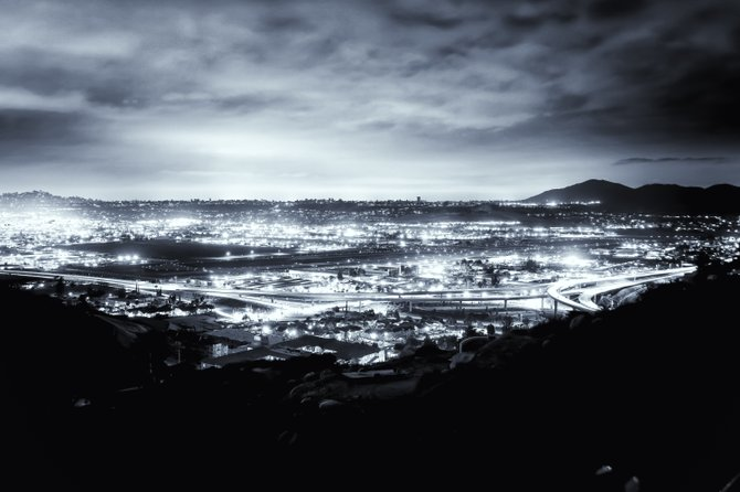 """Silver City"" Overlooking Santee, Ca and El Cajon, Ca at night. Taken by Joshua Kelsey"