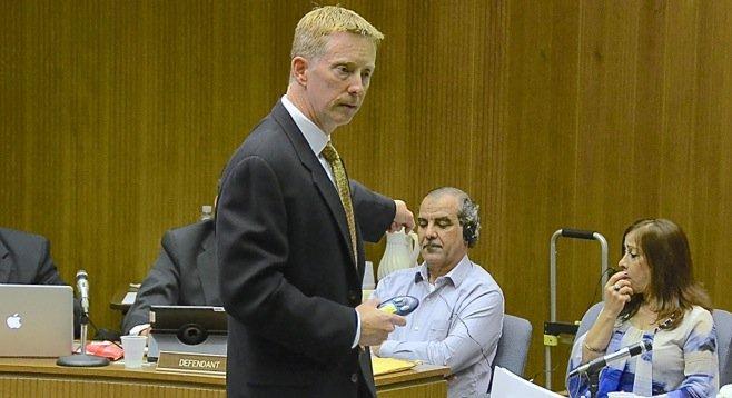 Prosecutor Kurt Mechals pointing at Kassim Alhimidi - Image by Bob Weatherston