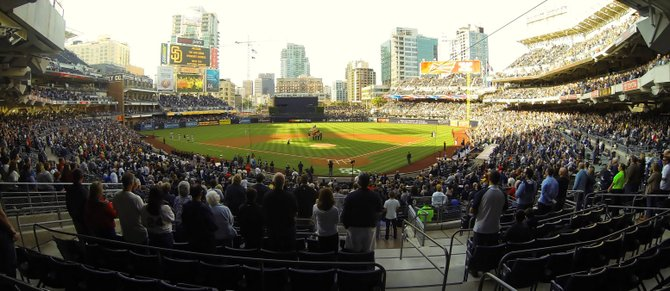 LGBT Choir (the rainbow in center field) singing the National Anthem at the Giants / Padres game.  Padres played an excellent game and won.