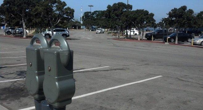 Tuna Harbor parking lot on Monday morning, April 21