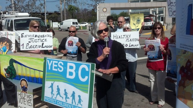 Joy Williams addresses media at a April 23 press conference in support of the Barrio Logan Community Plan