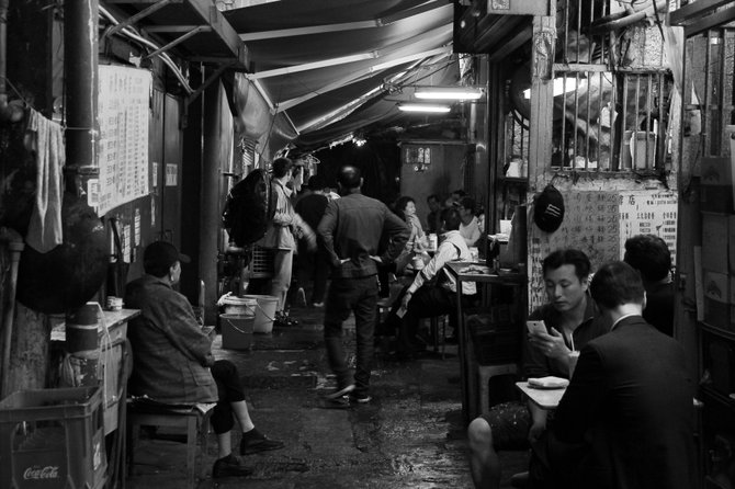 One of many back-alley food stalls on the streets of Hong Kong.