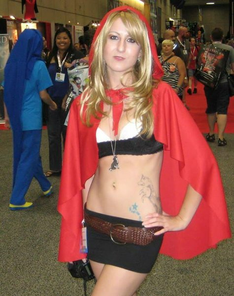 """Jay's caption for the photo is """"Wanna catch a ride with Little Red from the Hood?"""" It's the 4th photo in the gallery. The woman is Caucasian in the photo. This shows that Jay was doing unintential racism when he captioned the Red Riding Hood photo for Anime Conji. http://www.sandiegoreader.com/weblogs/jam-session/2013/jul/17/comic-con-photo-phunnies-day-1-preview-night/"""