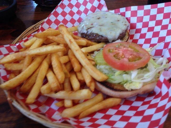 A surprisingly good burger with pepperjack. We won't talk about the fries. South Cali Steak Burger Bar.