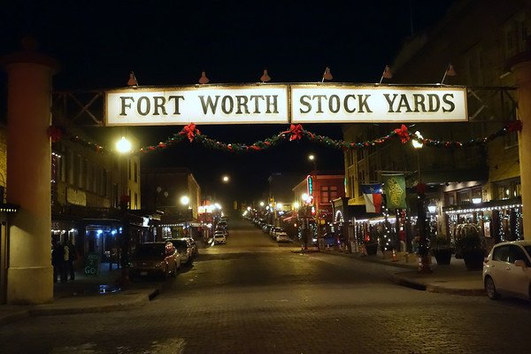 Strolling through the Stockyards District at night.