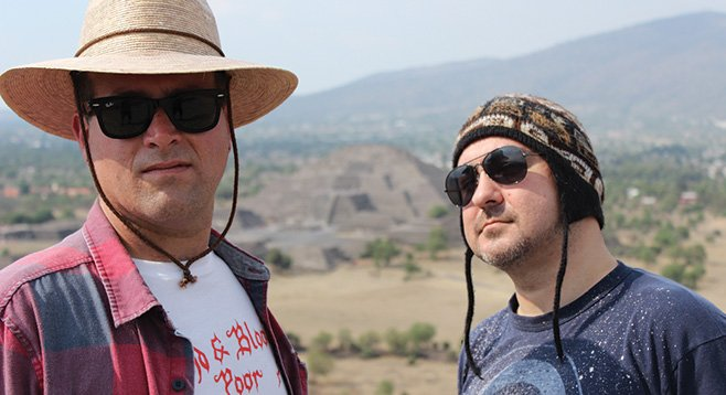 Innerds conquer the Pyramid of the Sun in Teotihuacan.