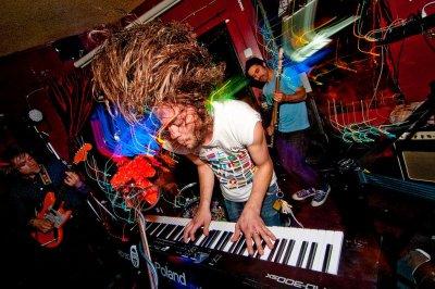 Psyche-rocking Seattleites the Pharmacy set up at Soda Bar Monday night.