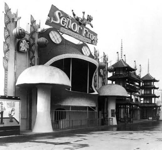 The original 1915 Toadstool attraction featured a spinning disc, set into the floor. Customers would stand on the disc, hold on to a bar, and see how long they could keep going before collapsing in a dizzy heap. Despite warnings, some contestants actually kept at it for so long that they became nauseous. Legal concerns prevent us from operating an attraction like that in 2015, but the exhibit structure proved a natural home for the popular Mexican bar-restaurant chain Senor Frog's. Many customers who visit Senor Frog's stand at the bar and see how long they can keep going. Eventually, everything starts spinning and they collapse in a dizzy heap — just like the original Toadstool! There are even some patrons who, despite warnings, keep at it for so long that they become nauseous.