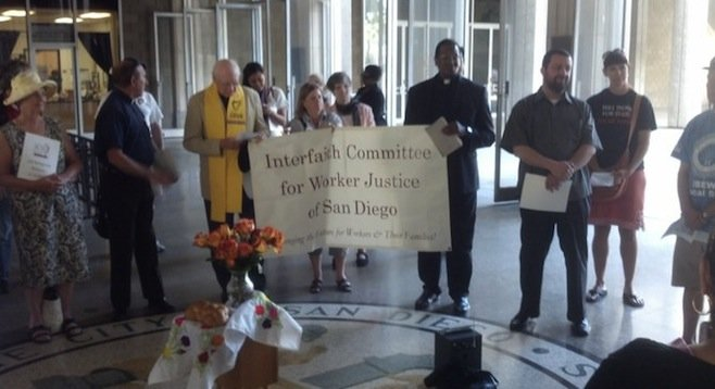 April 23 prayer circle on the city seal, 12 floors below city-council chambers
