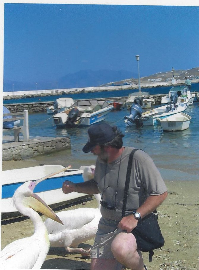Author with Petros the Pelican