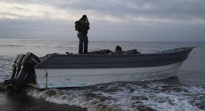 Abandoned smugglers' boat found on Santa Barbara County coast in 2012 (CBP photo)