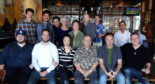 Top row: Musician Joel West, Destin Cretton, Tom Foolery, Jean Lowerison, Diana Saenger, Matthew Lickona, and Yazdi Pithavala. Bottom row: Rob Patrick, Glenn Heath Jr., Lee Ann Kim, Jim Harrison, Lance Carter, and Anders Wright.