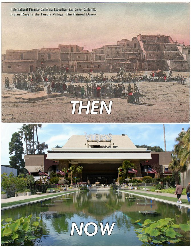 """The 1915 Exposition paid tribute to Native American culture by constructing a Pueblo Village replica, which housed real Indians! The Exposition also featured a gambling hall, which proved enormously popular. We've combined the two by constructing a Viejas casino replica, which profits real Indians! (We're pretty sure no one will miss The Botanical Building.)"""
