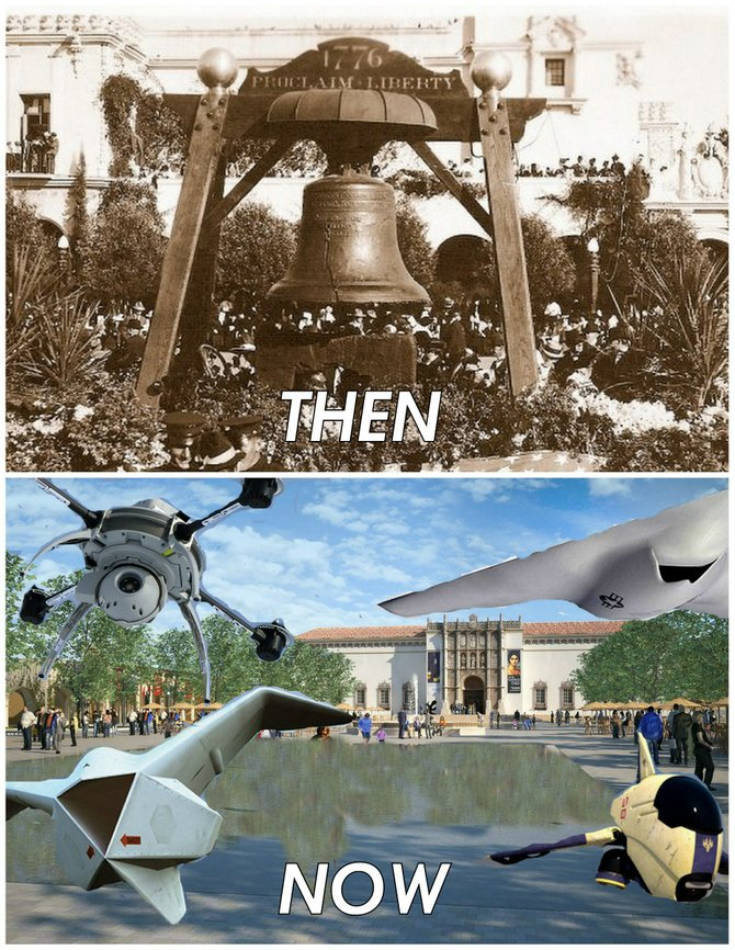 """""""In 1915, we had the toll of the Liberty Bell to remind us of our commitment to freedom. In 2015, we have the drone of the Drones to remind us that freedom has to be balanced with the need for security, stability, and solid intelligence."""""""