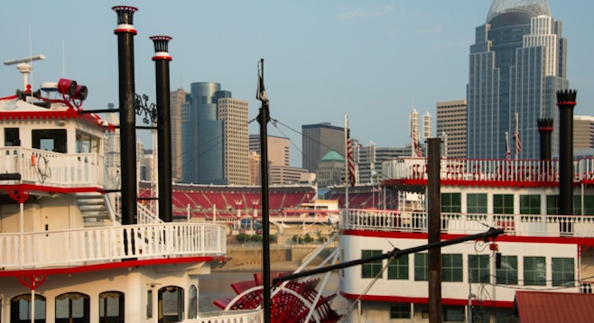 A view of Great American Ballpark between riverboats on the Ohio River.   stock photo