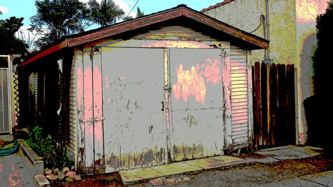 Dilapidated garage in a North Park alley, colorized via Photoshop.