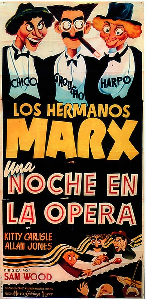 Spanish three-sheet for A NIGHT AT THE OPERA.