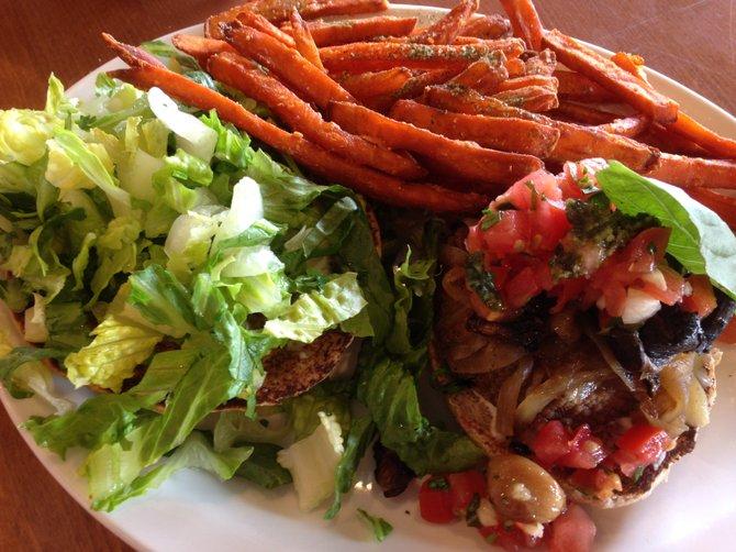 Portobello and Sausage Burger at Native Foods Cafe