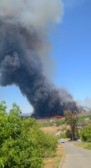 Wildfire in Bonsall.