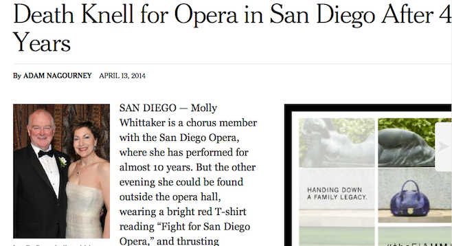 "The New York Times covered the story of the opera's ""death knell"""
